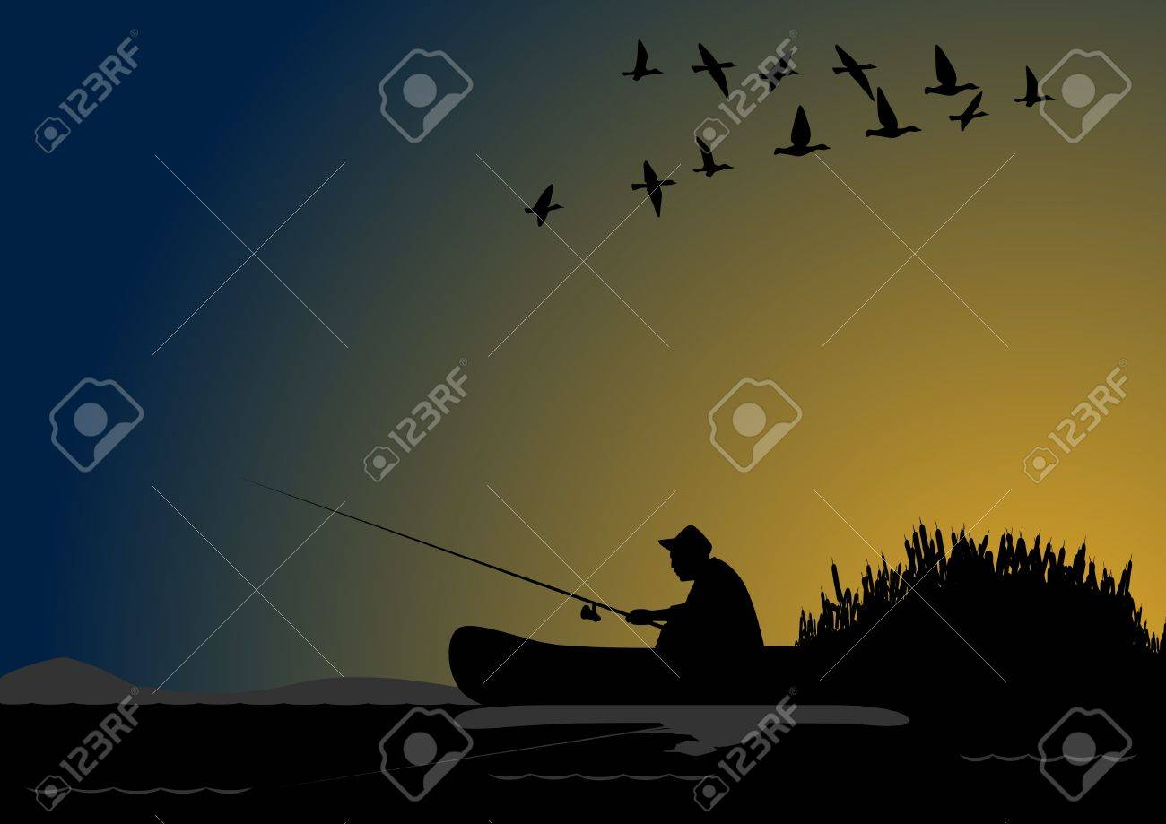 A fisherman with a fishing rod in the boat Stock Vector - 11420347