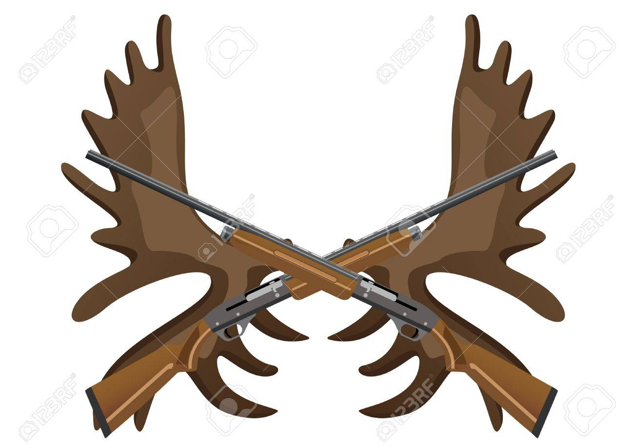 Hunting rifles against the horns of an elk Stock Vector - 11420342