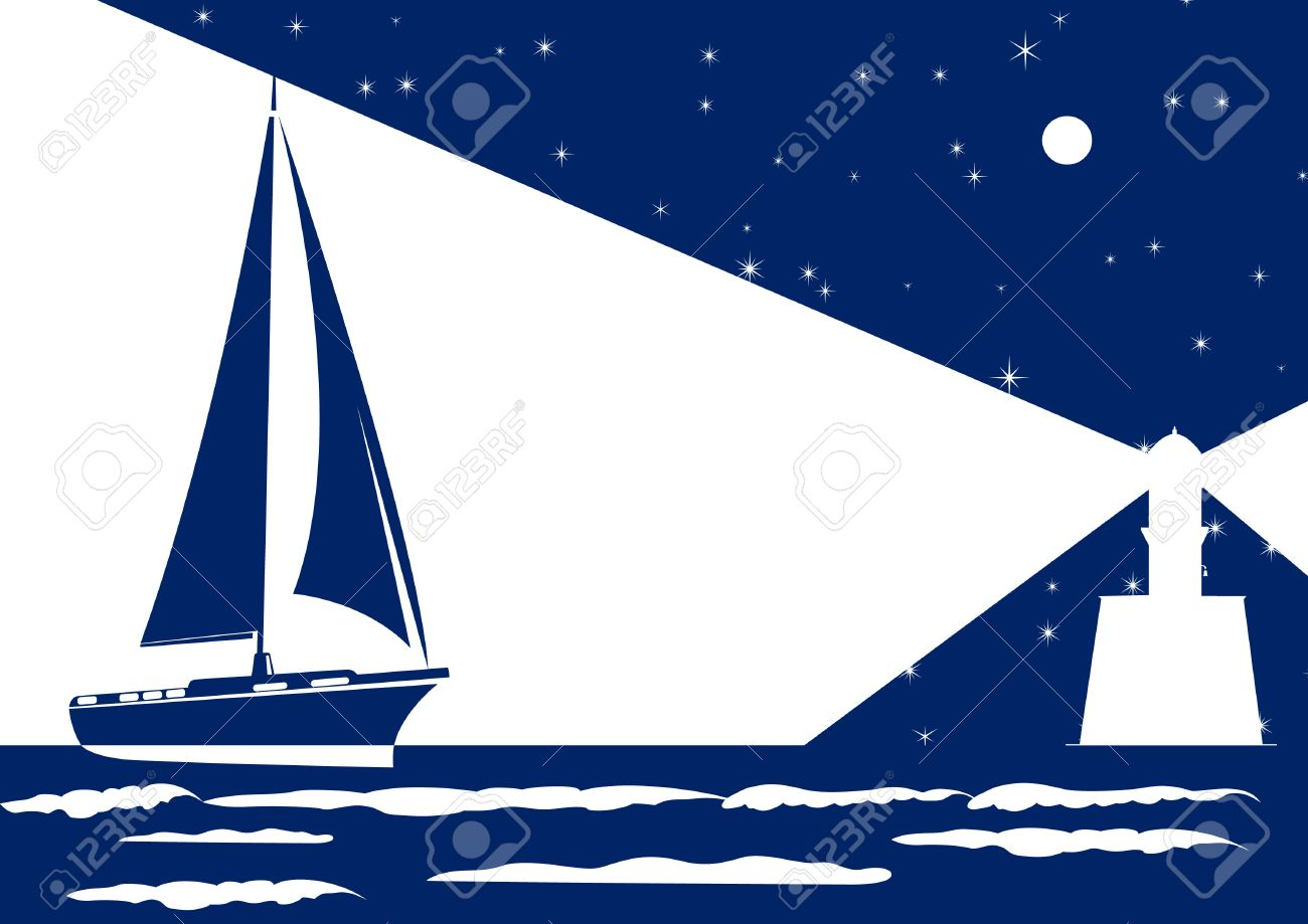 Sailing ship sails at night to light the lighthouse Stock Vector - 11885884