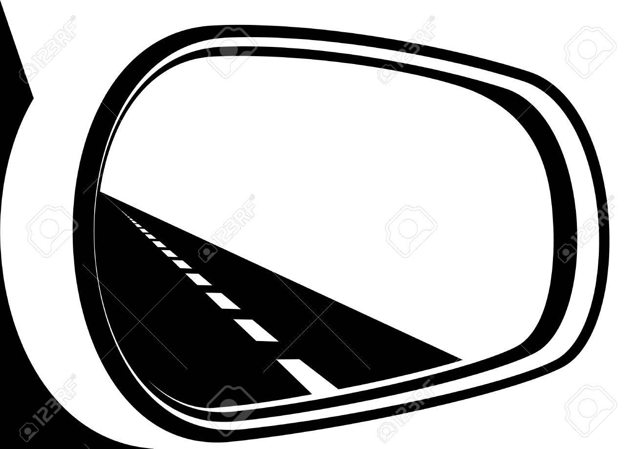 mirror clipart black and white. the road is reflected in car mirror. black and white illustration. stock vector mirror clipart b
