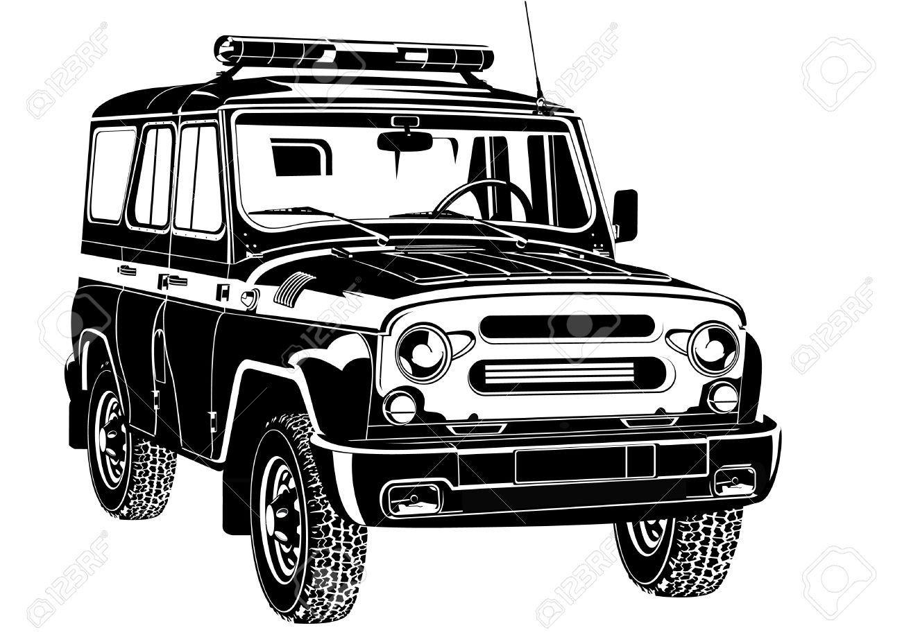 Cop Suv With Special Signal Black And White Illustration Royalty
