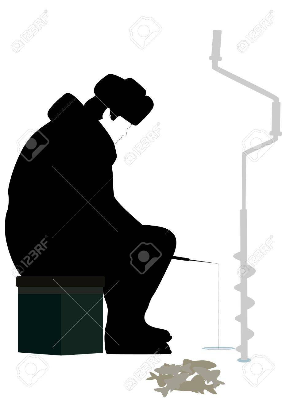 Near the hole sits a man with a fishing rod and winter fishing. Stock Vector - 12035464