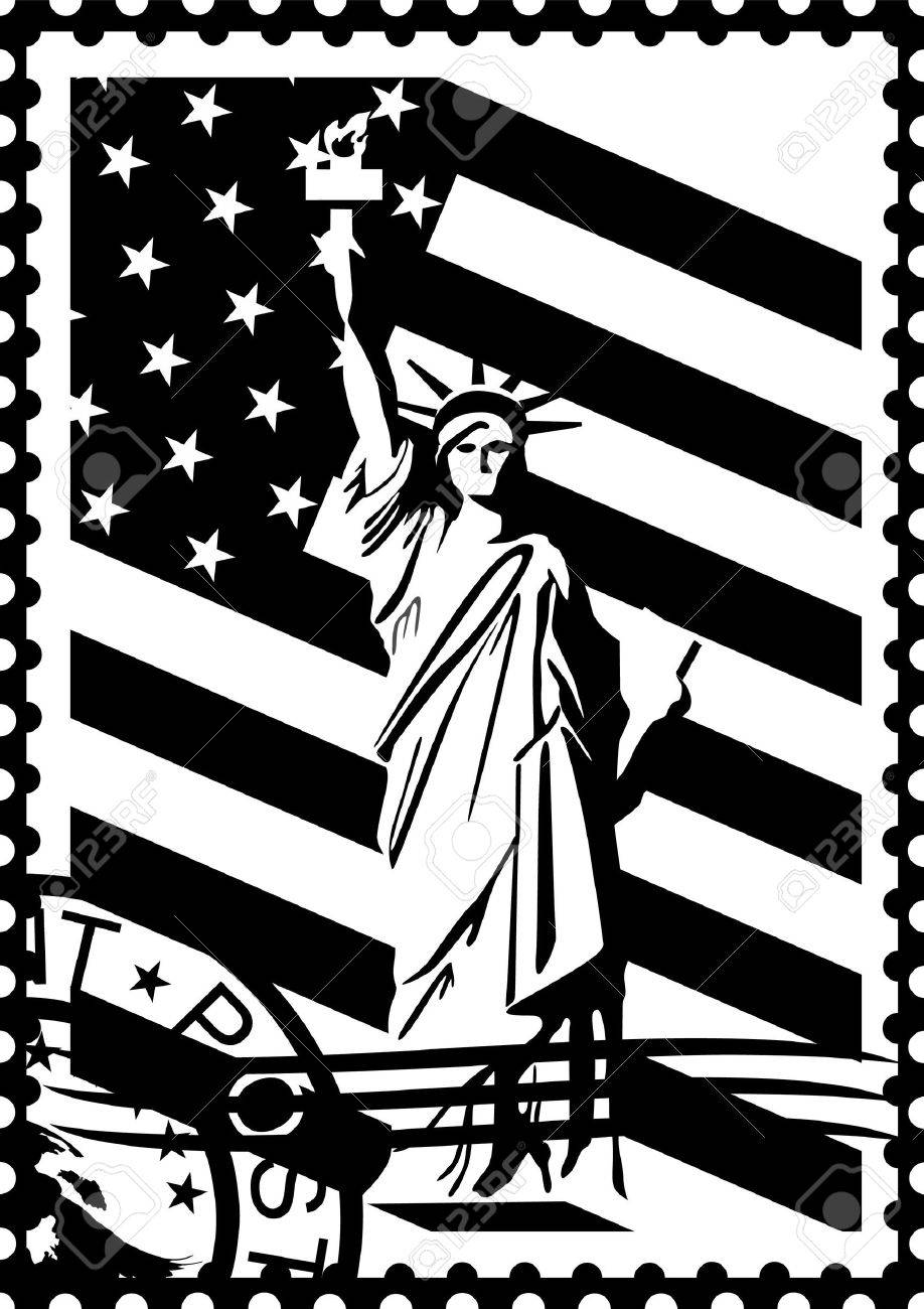 Postage Stamp With The Symbols Of America Black And White Illustration Stock Vector