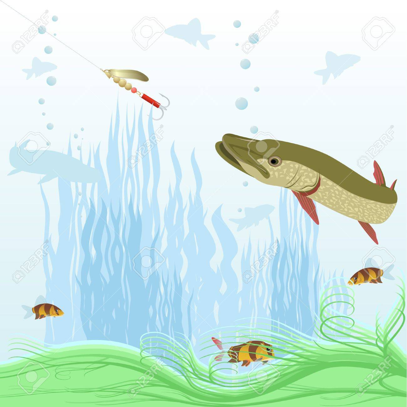 The illustration on the theme of the underwater world of aquatic plants and underwater creatures. Stock Vector - 12270740