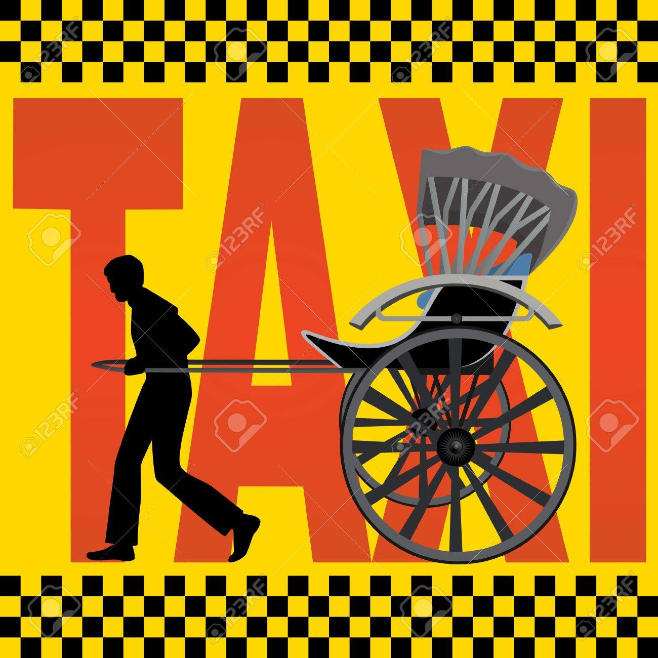 A man carries a passenger carriage on the background of the inscription,  Taxi Stock Vector - 14652461