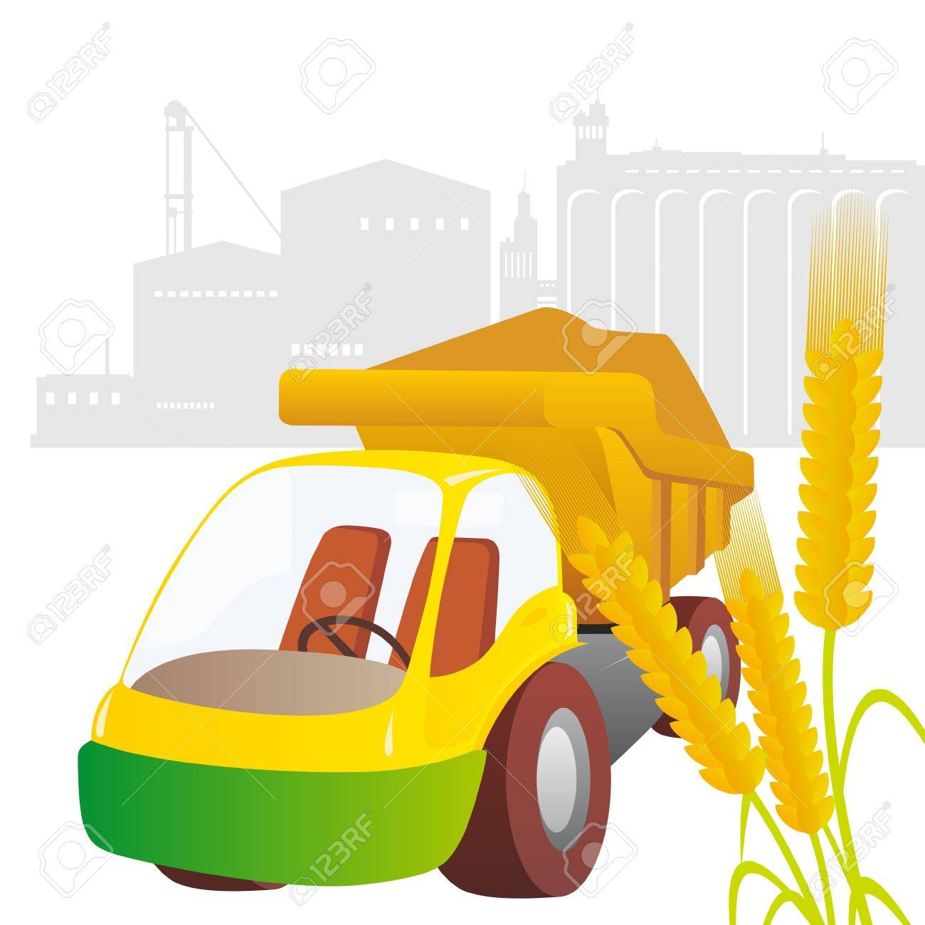 Ear of wheat and truck against the elevator  Illustration on white background Stock Vector - 15539902