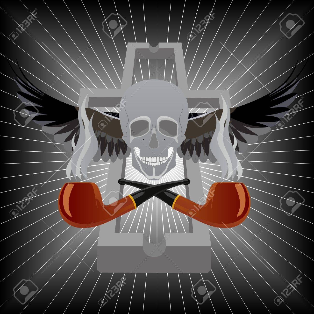 Two pipes for smoking tobacco, a human skull with abstract wings and an ashtray in the shape of a cross Stock Vector - 15657475