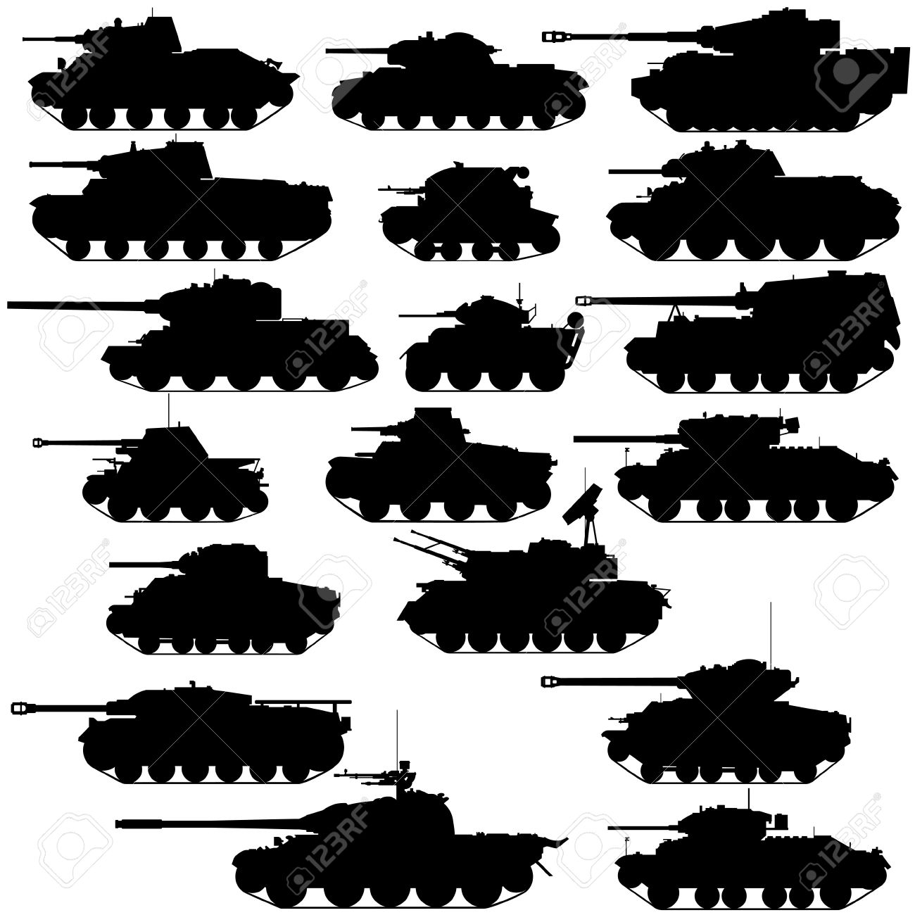 The contours of the old tanks. Illustration on white background. Stock Vector - 15806078