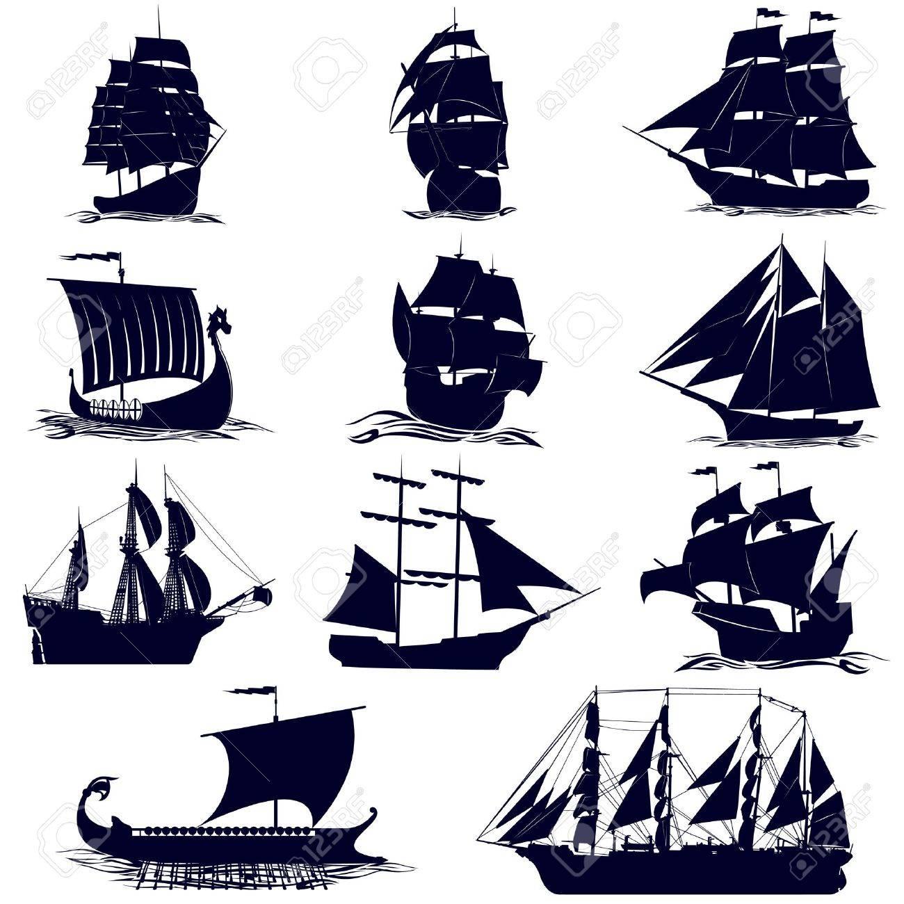 old sailing ships illustration on white background royalty free