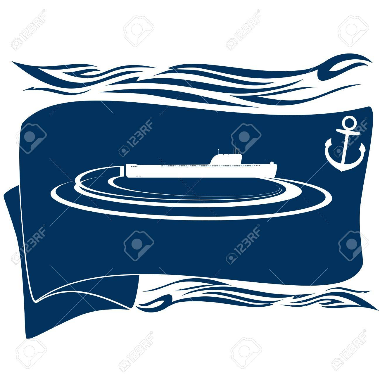 Navy. Flag with an anchor and a submarine. Illustration on white background. Stock Vector - 16697188