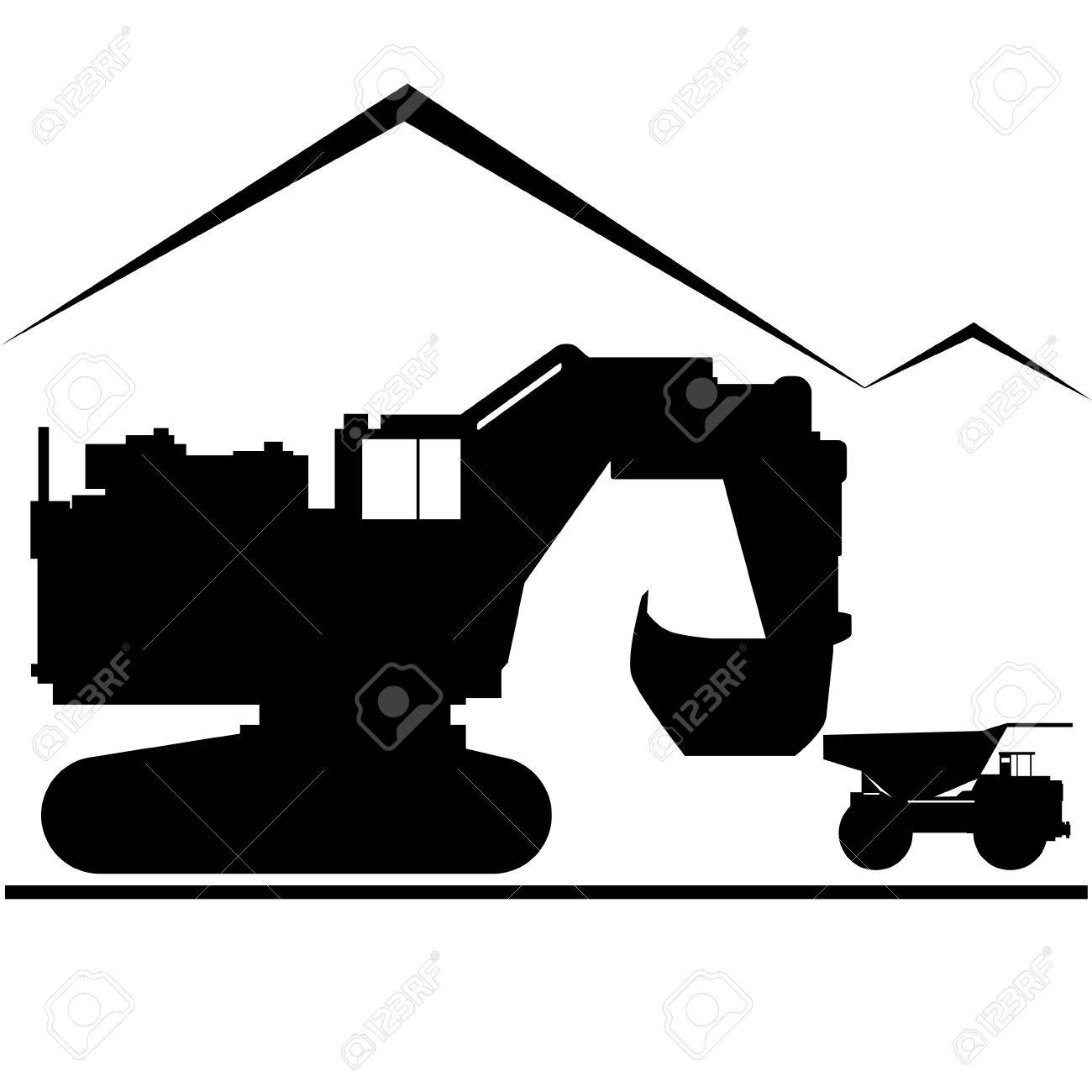 Coal Industry. Excavator And Truck. Illustration On White ...