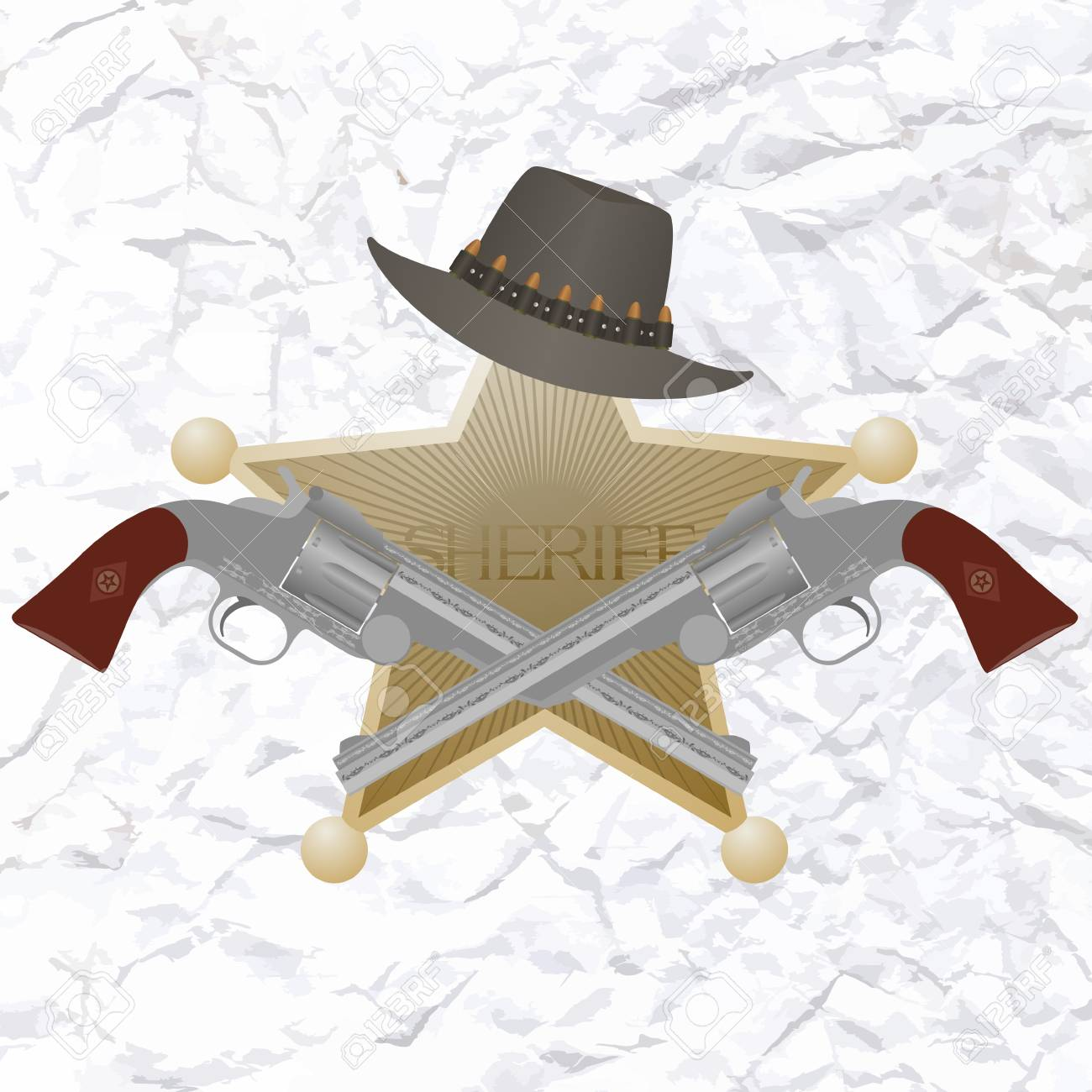Star of the sheriff s hat and small arms  The illustration on a white background Stock Vector - 24941732