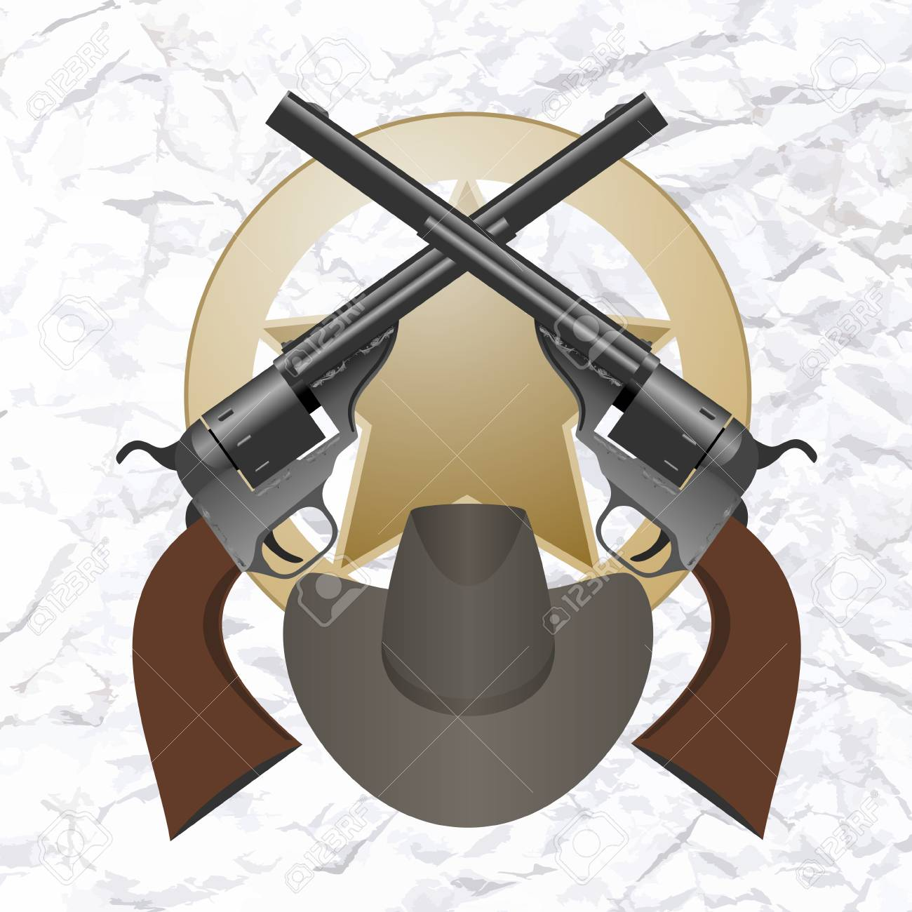 Star of the sheriff s hat and small arms  The illustration on a white background Stock Vector - 24941735