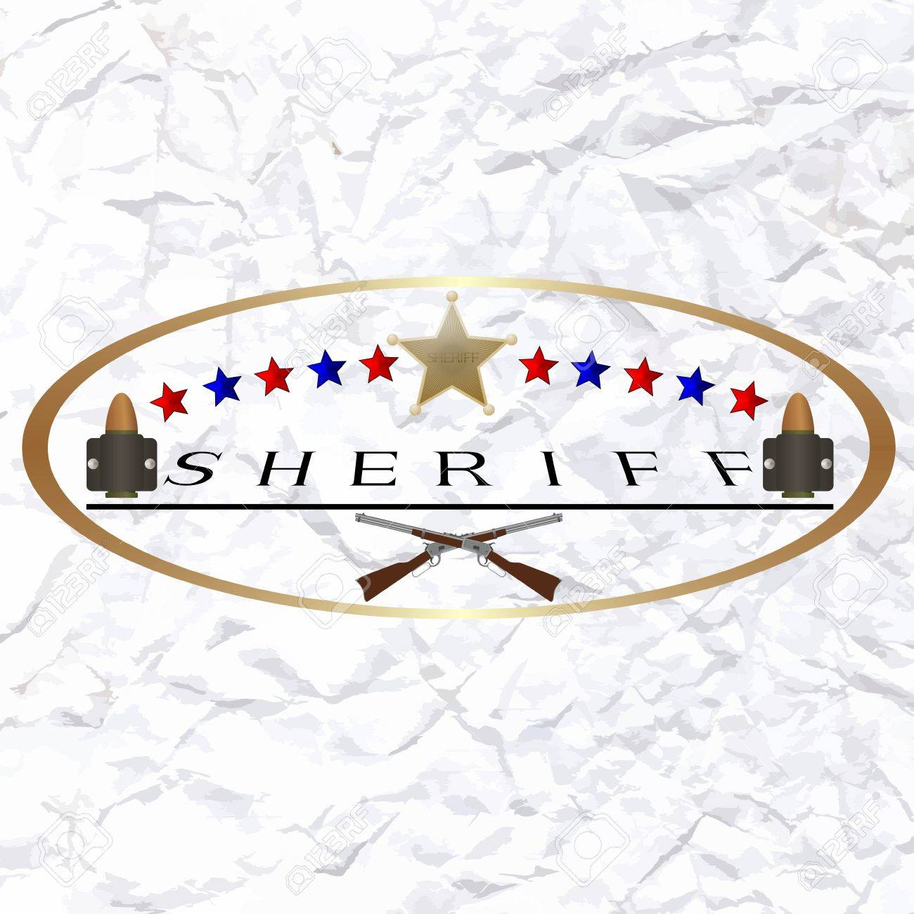 Star of the sheriff s hat and small arms  The illustration on a white background Stock Vector - 24941736