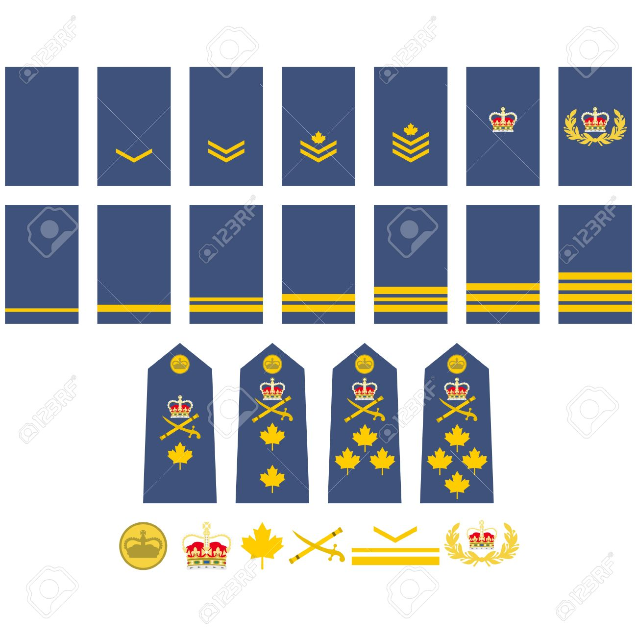 Military Ranks And Insignia Of The World Illustration On White
