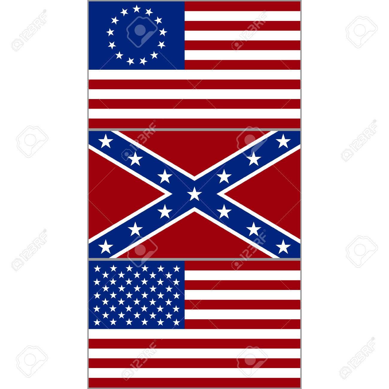 Banderas De La Confederación Y Los Estados Unidos Durante La Guerra Civil Americana La Ilustración Sobre Un Fondo Blanco Ilustraciones Vectoriales Clip Art Vectorizado Libre De Derechos Image 47325134