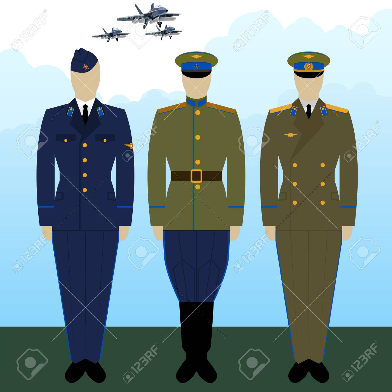 7038529d4d8 Russian military pilots in uniform against the background of military  aircraft. Stock Vector - 74228168