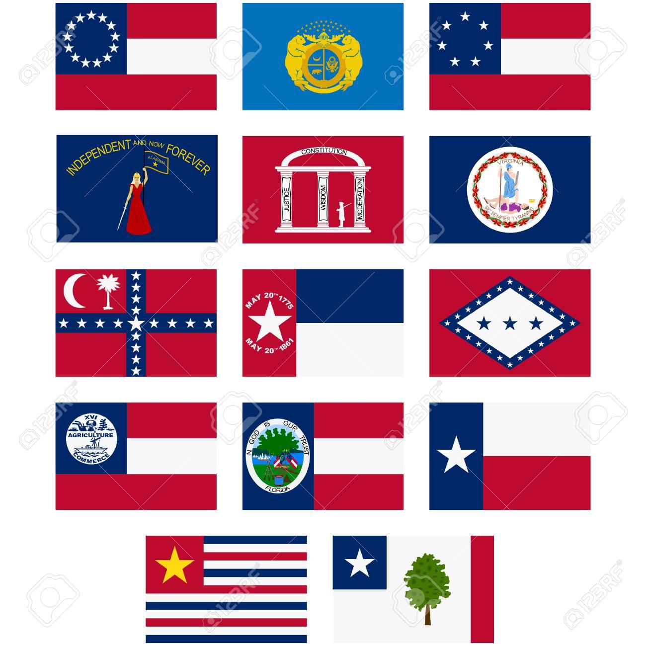アメリカ連合国の国旗。アメリカ南北戦争 (1861-1865 年)。白い背景の ...