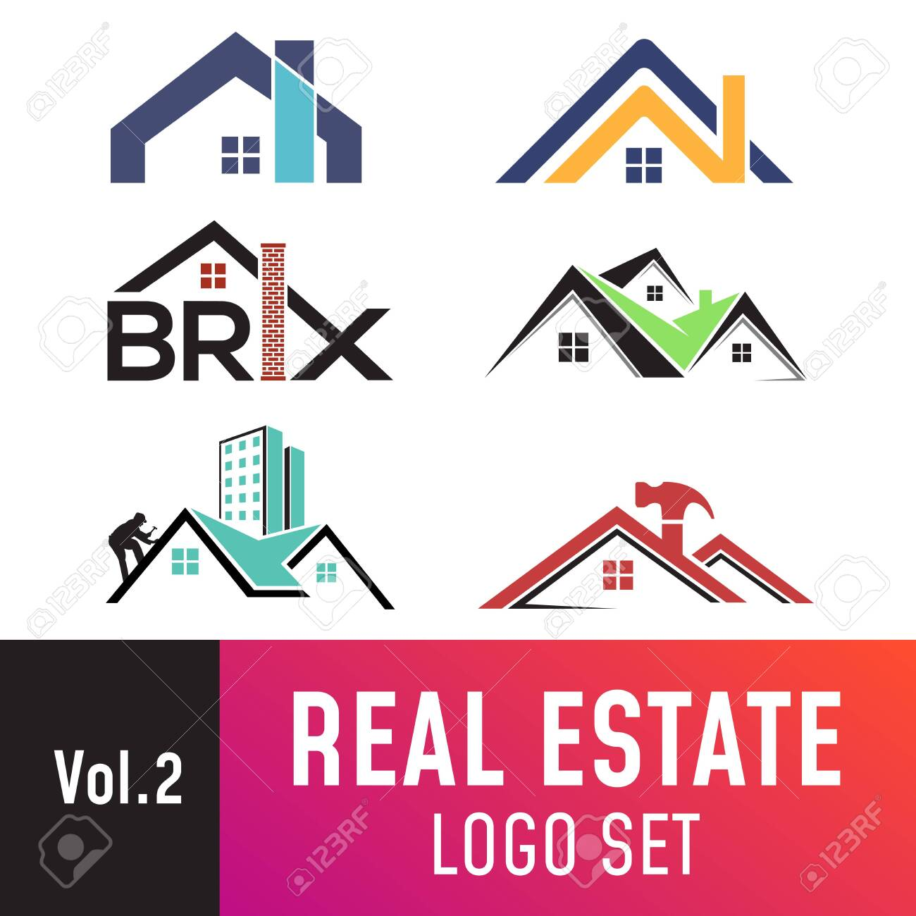 Set of real estate template, suitable for real estate, property, roofing, and construction related business. - 125117611