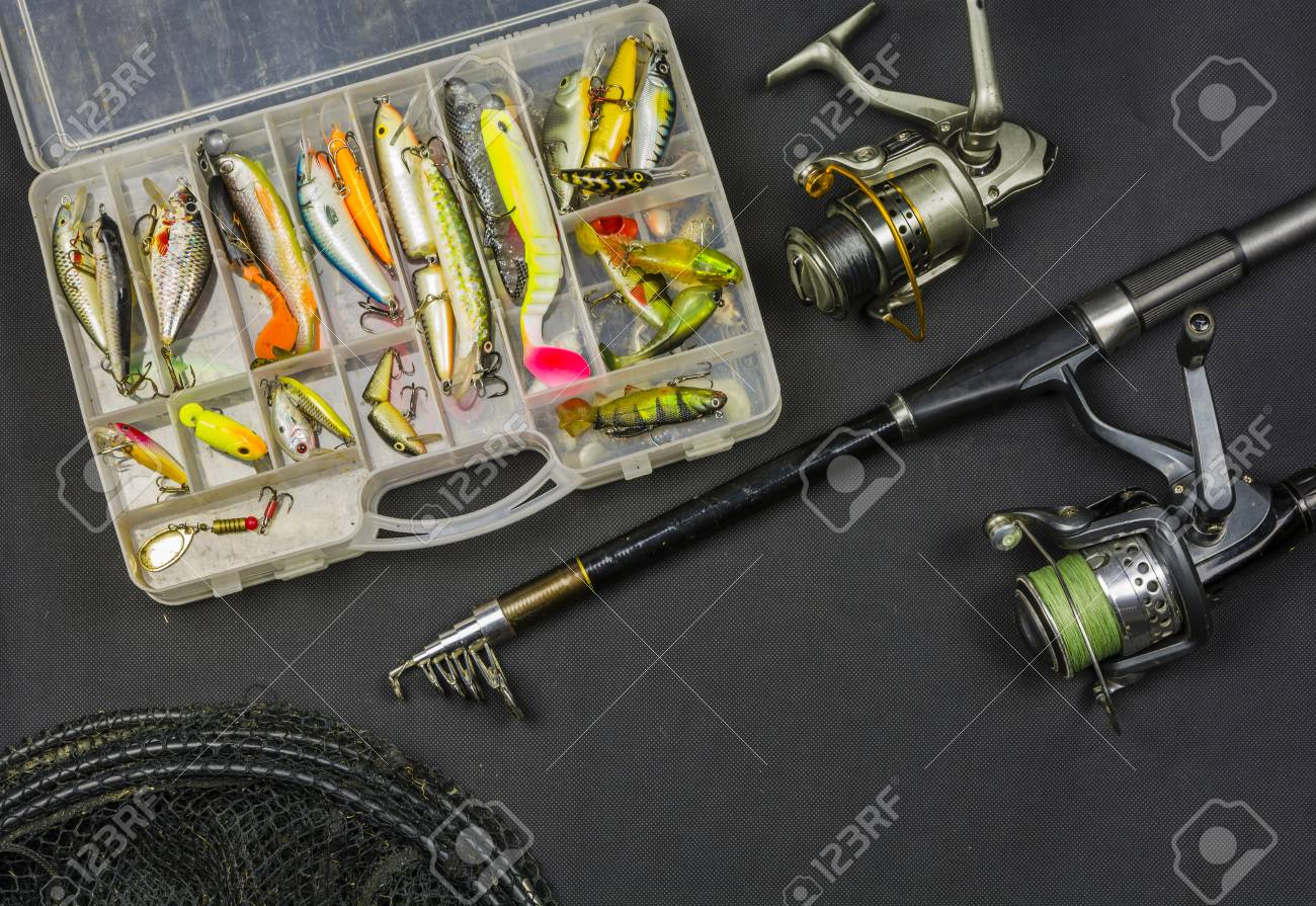 Fishing Rod With Reel, Set Of Artificial Baits, Fish Net And