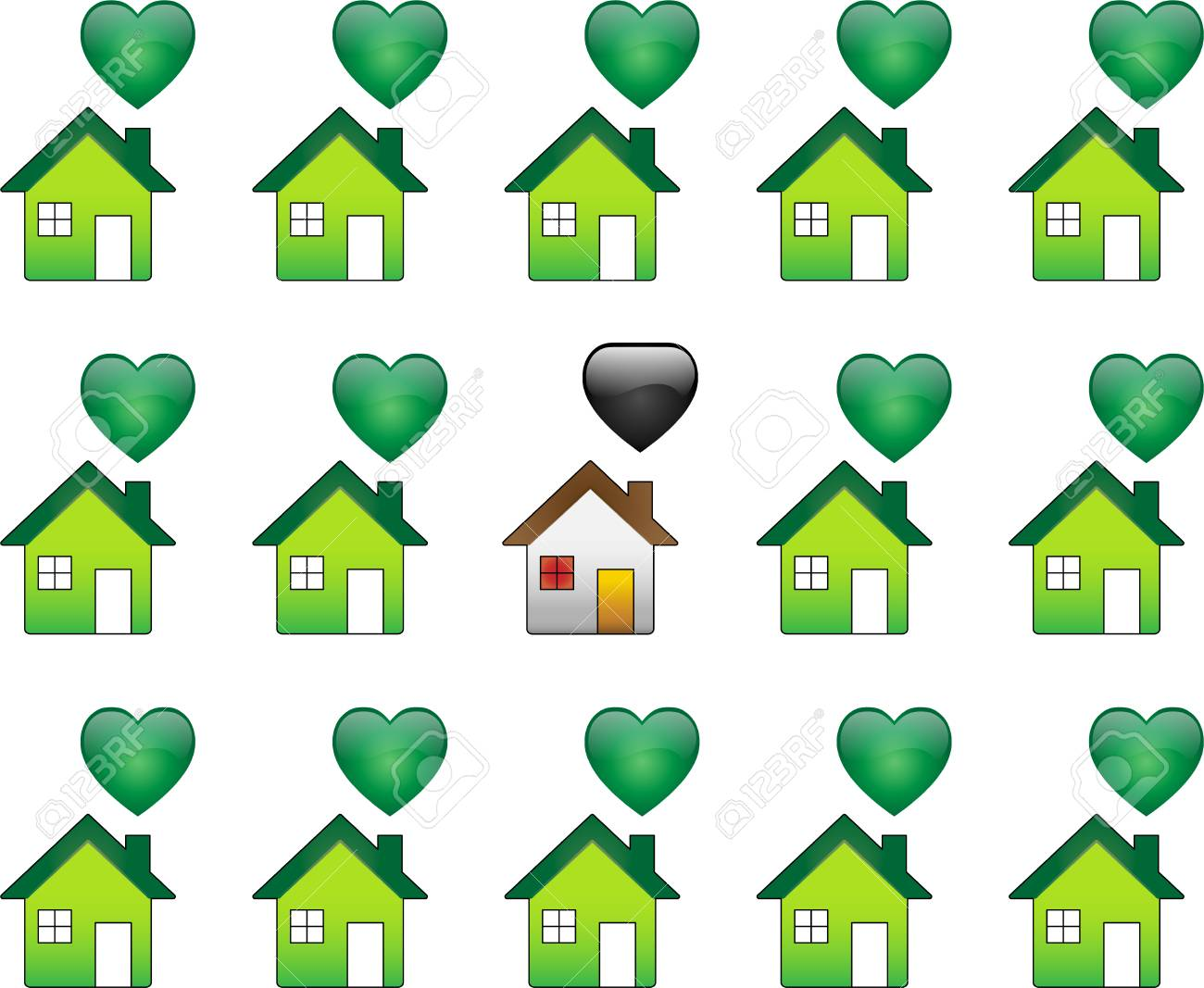 Ecological Houses and regular polutant houses Stock Vector - 4773211