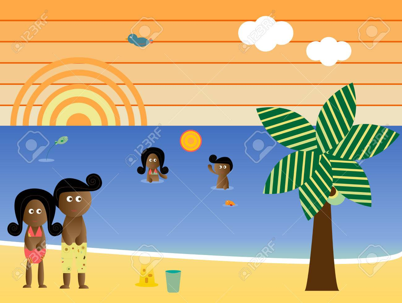 Retro Beach Sunset Landscape African American Family Vacation Stock Vector - 4867337