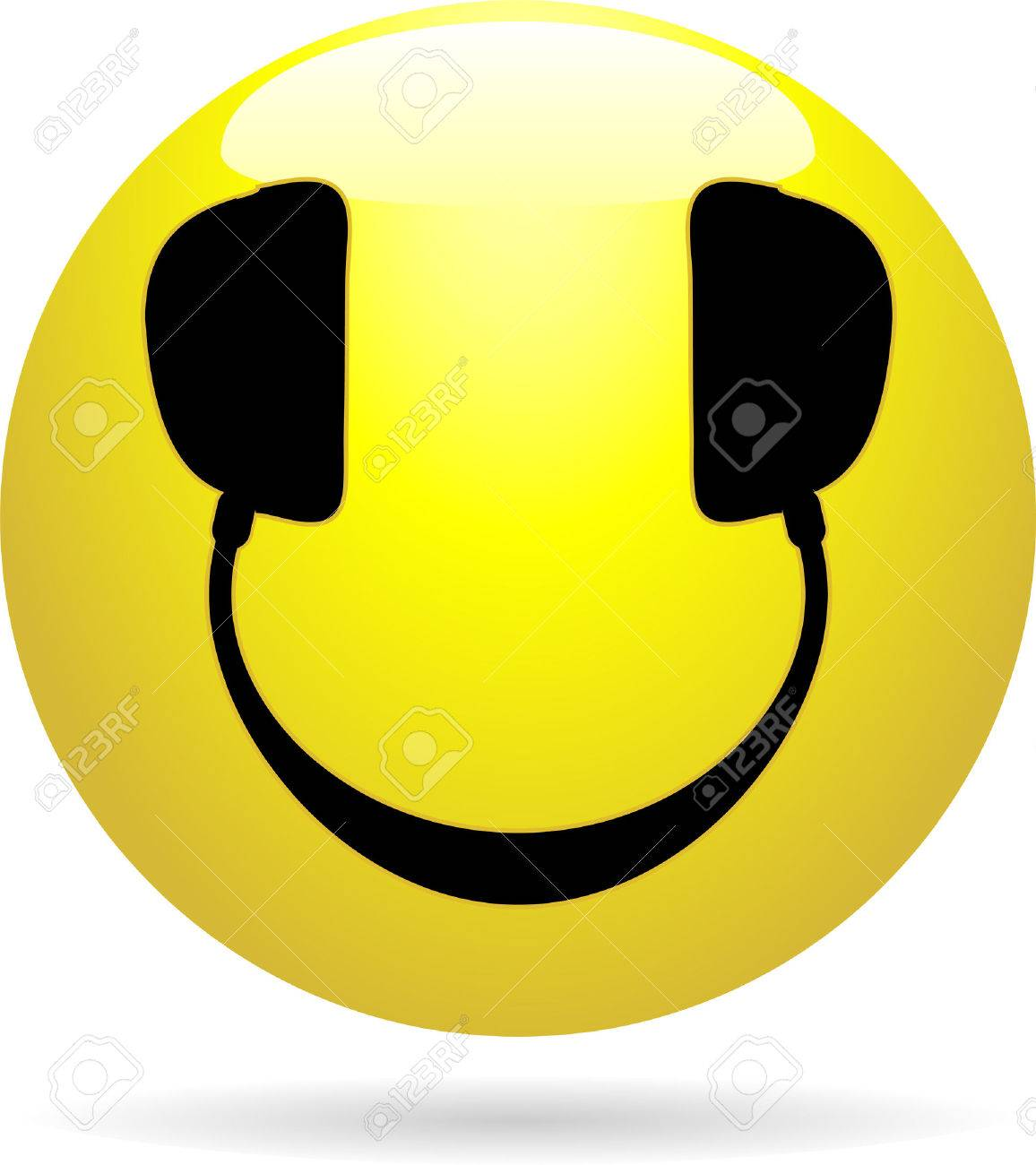 Glossy Smiley icon with headphones in place of eyes and mouth Stock Vector - 4894666
