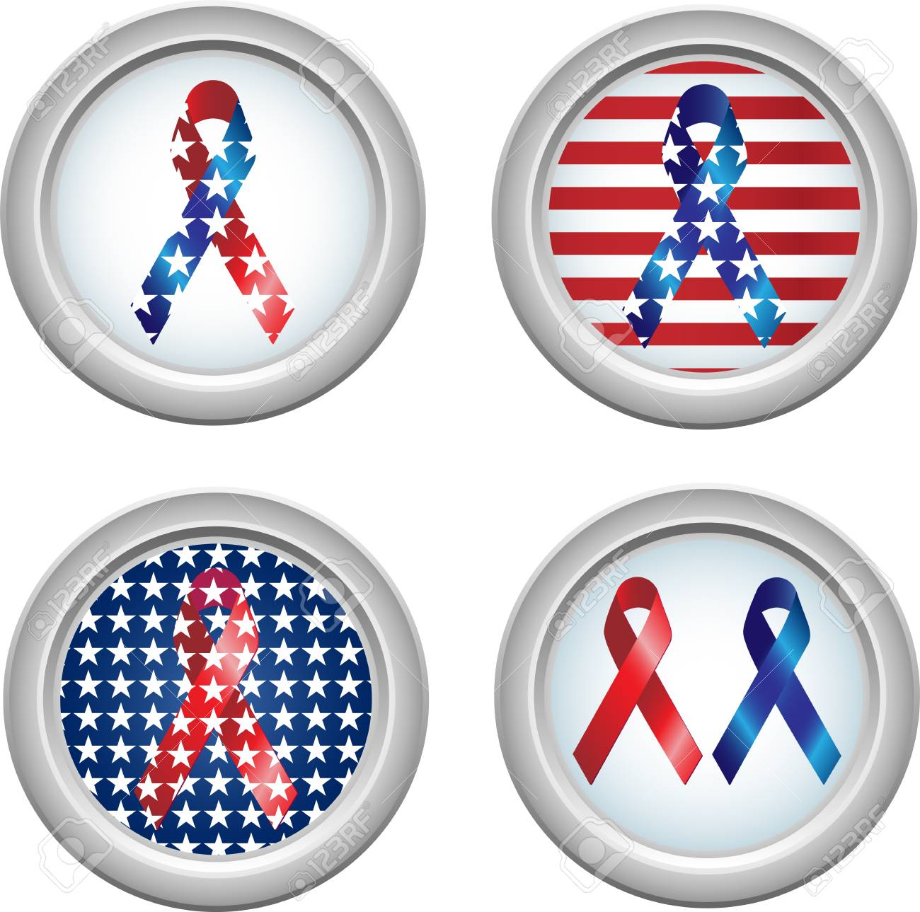 USA Stars and Stripes Buttons Fourth of July Stock Vector - 4995188