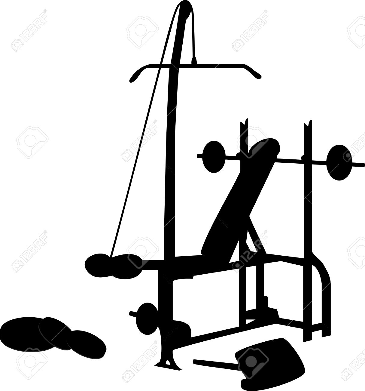 Gym Equipment Silhouette Isolated On White Stock Vector