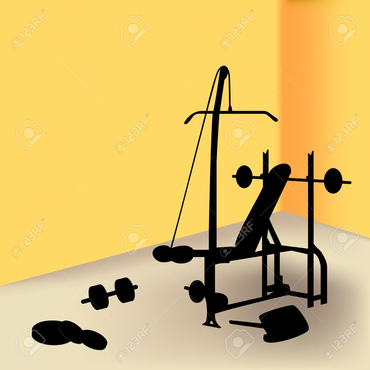 Gym equipment in yellow room Stock Vector - 5052492