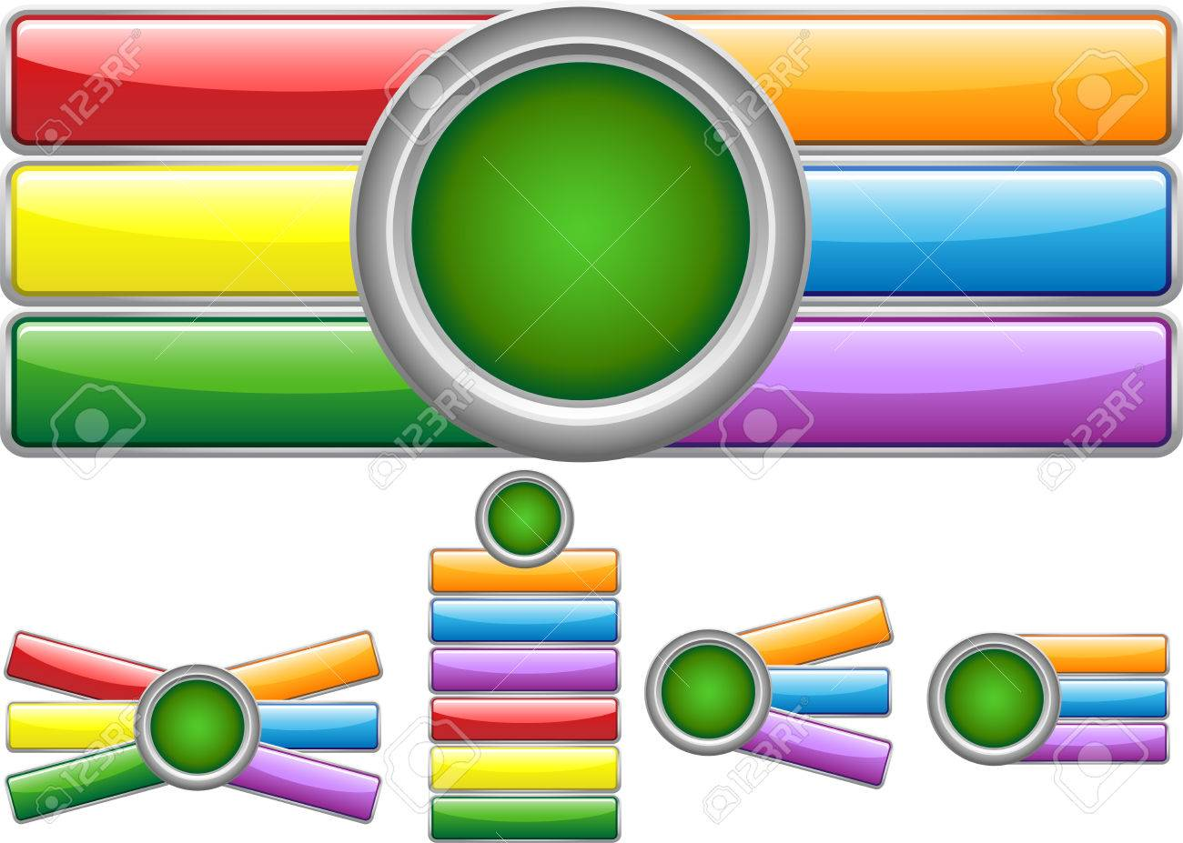 Glossy web buttons with colored bars Stock Vector - 5150329