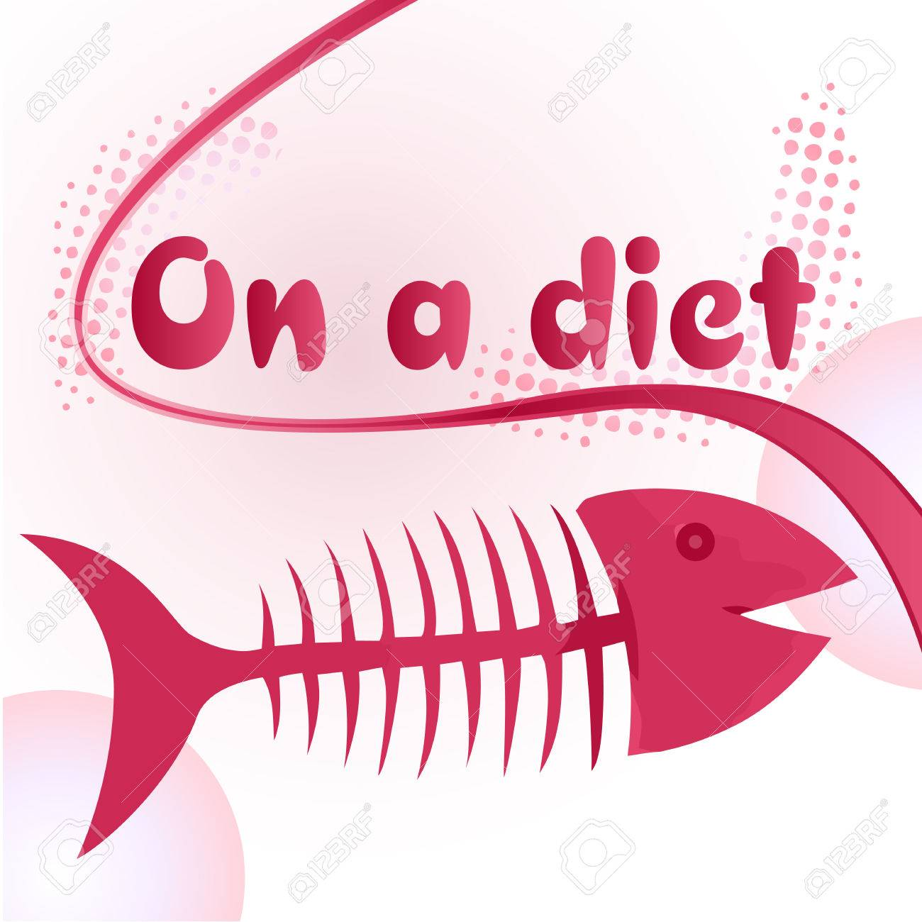 On a diet sign with funny fish bone illustration Stock Vector - 5260636