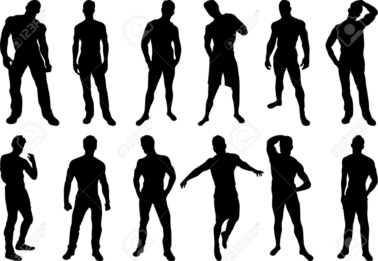 Set of 12 sexy men silhouettes on white background Stock Vector - 5358573