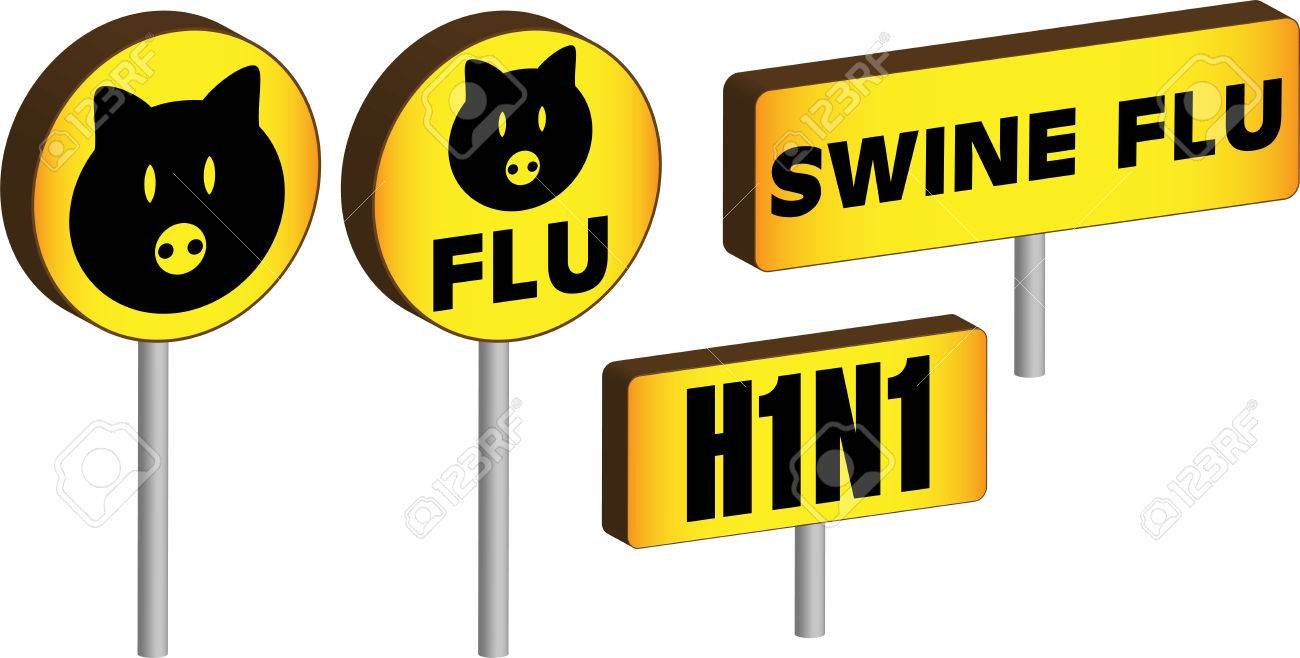 Four 3D Swine flu H1N1 Signs Stock Vector - 5503856