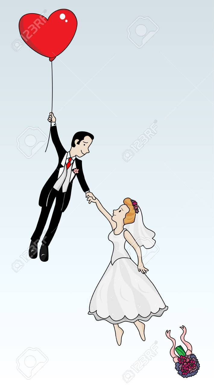 Just married couple flying with a heart shaped balloon. Highly detailed vector image. - 5807236