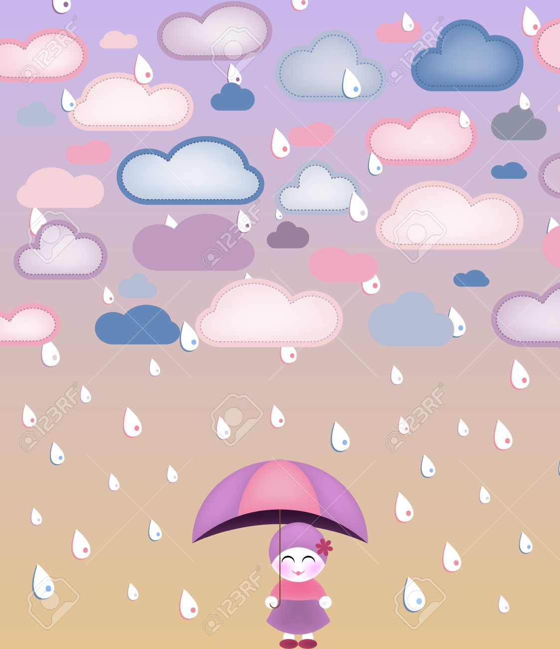 Cute girl under umbrella and rain. Vector Image Stock Vector - 6198428