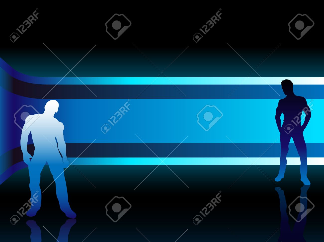 Sexy fashion boys in beautiful and colorful background. Editable Vector Image Stock Vector - 6342367