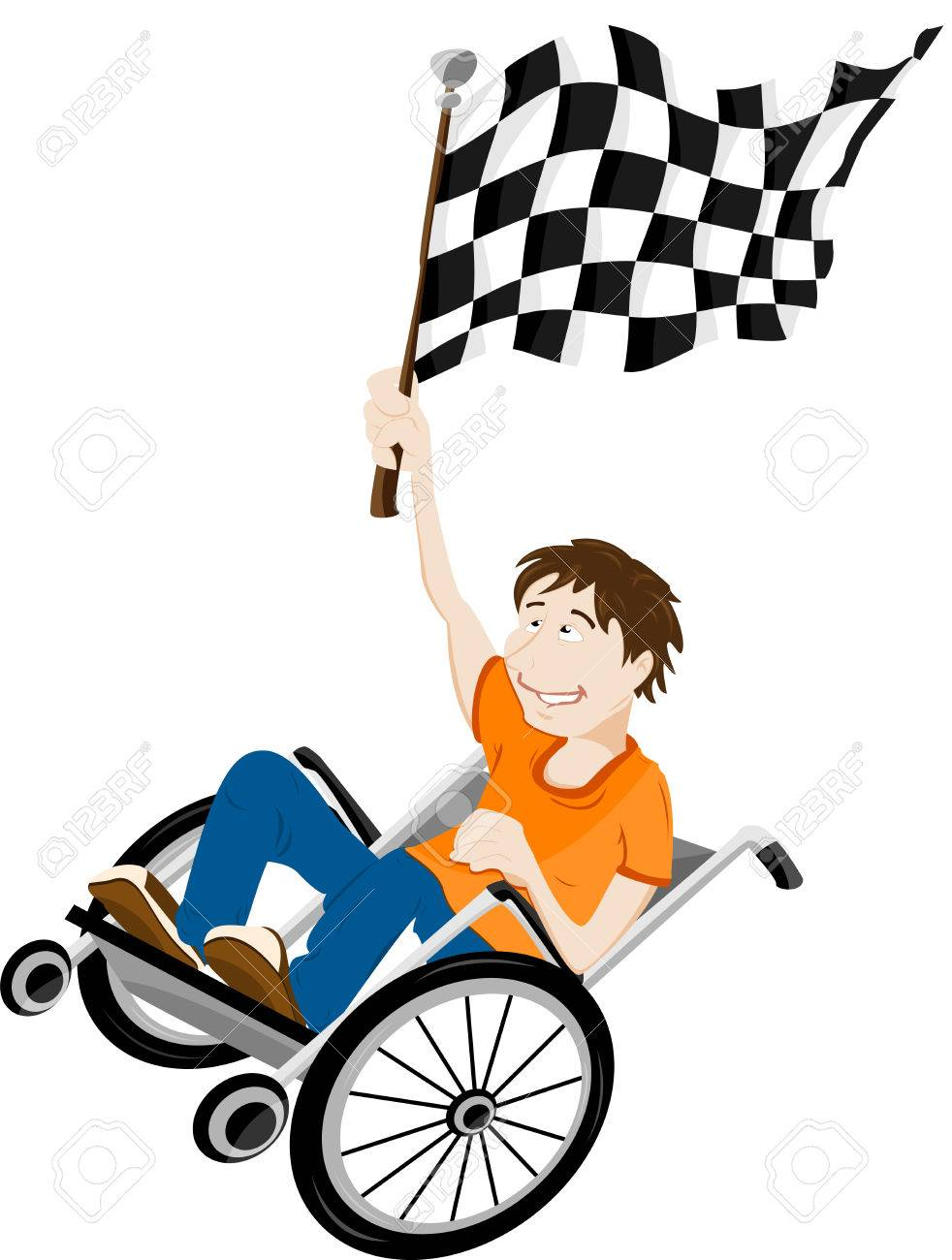 Young handicapped man in wheelchair with winner flag. Stock Vector - 6892371
