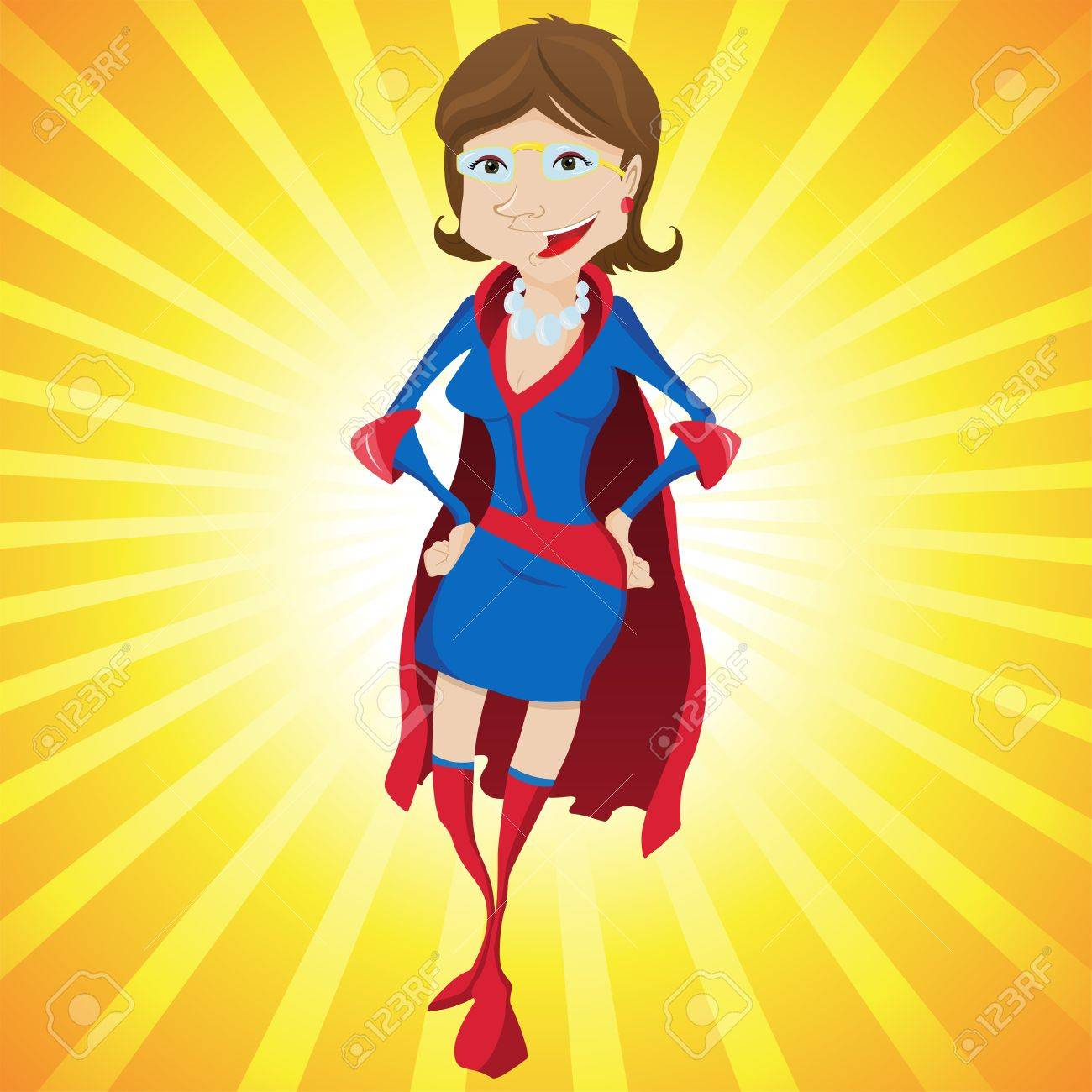 Super Woman Mother Cartoon with Yellow Background. Editable Illustration Stock Vector - 6957259