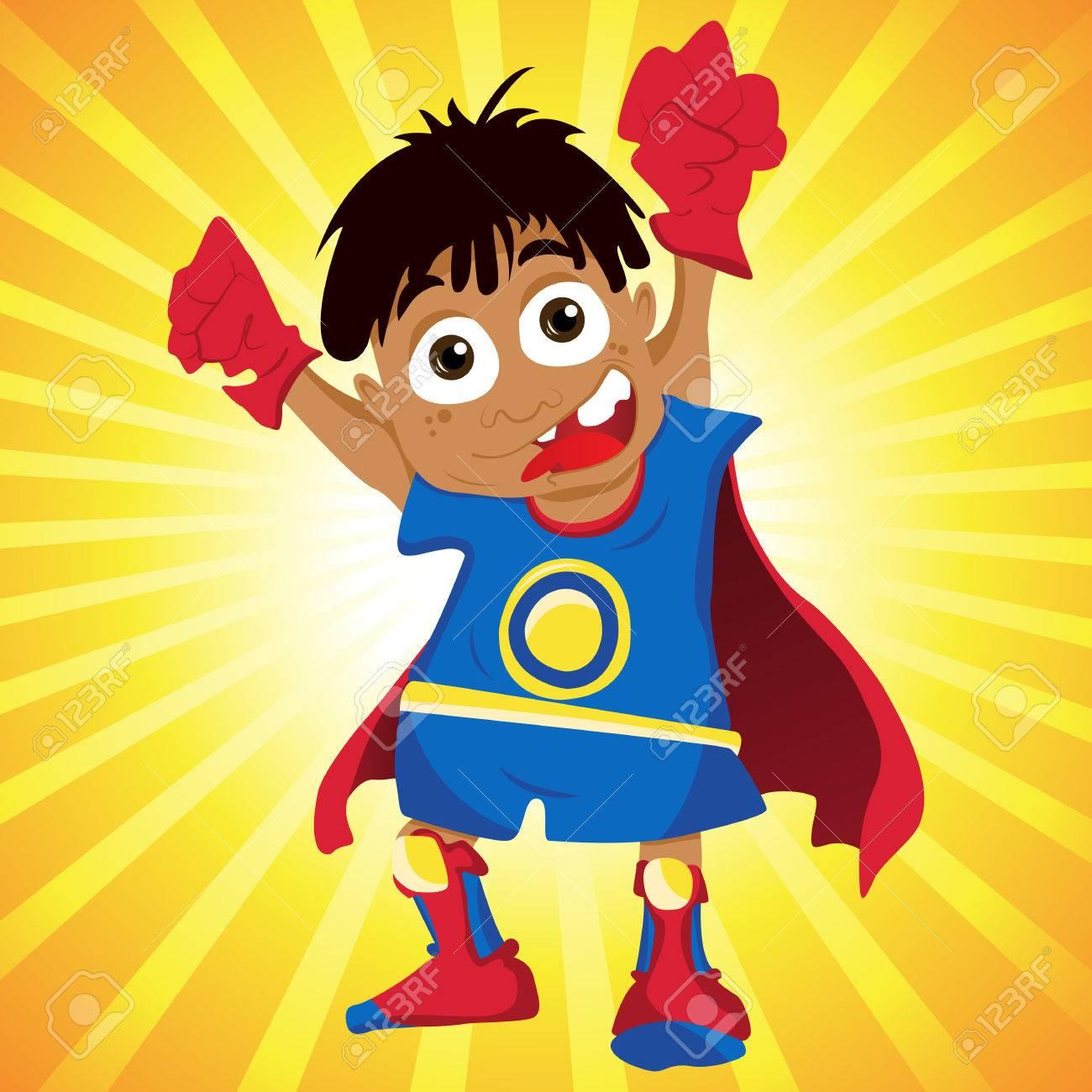 Black Super hero Boy. Stock Vector - 7078173