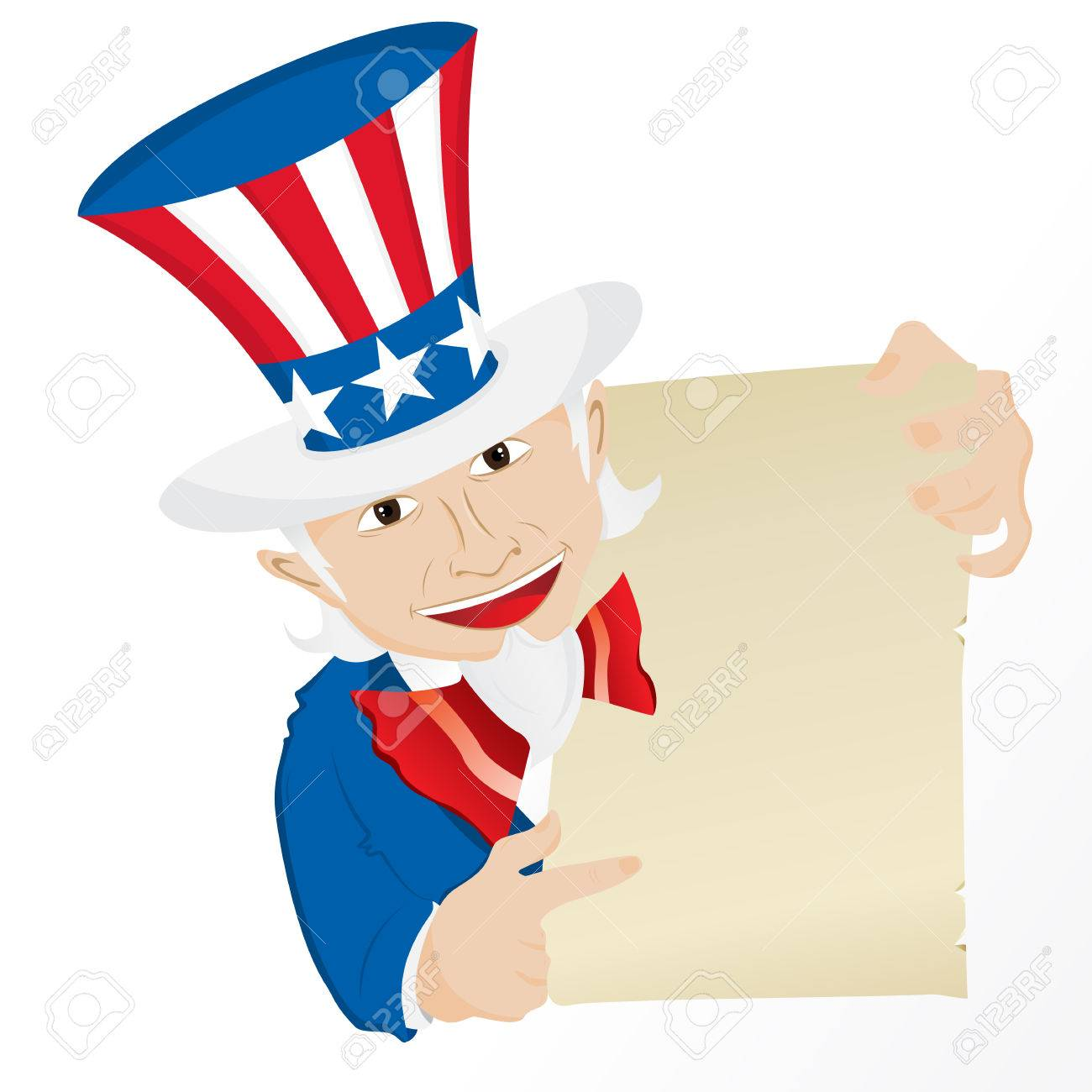 Uncle Sam Holding Sign. Editable Illustration Stock Vector - 7120210