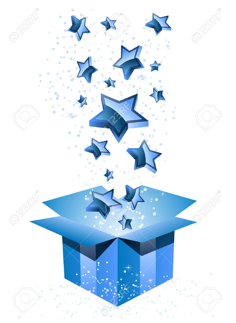 Gift Box Blue with Stars. Stock Vector - 7403863