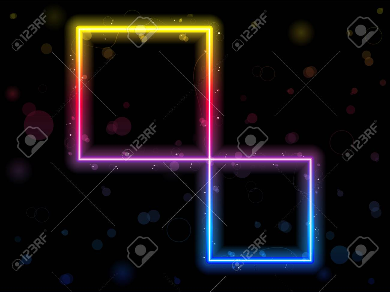 Rainbow Square Border with Sparkles and Swirls. Stock Vector - 7474272