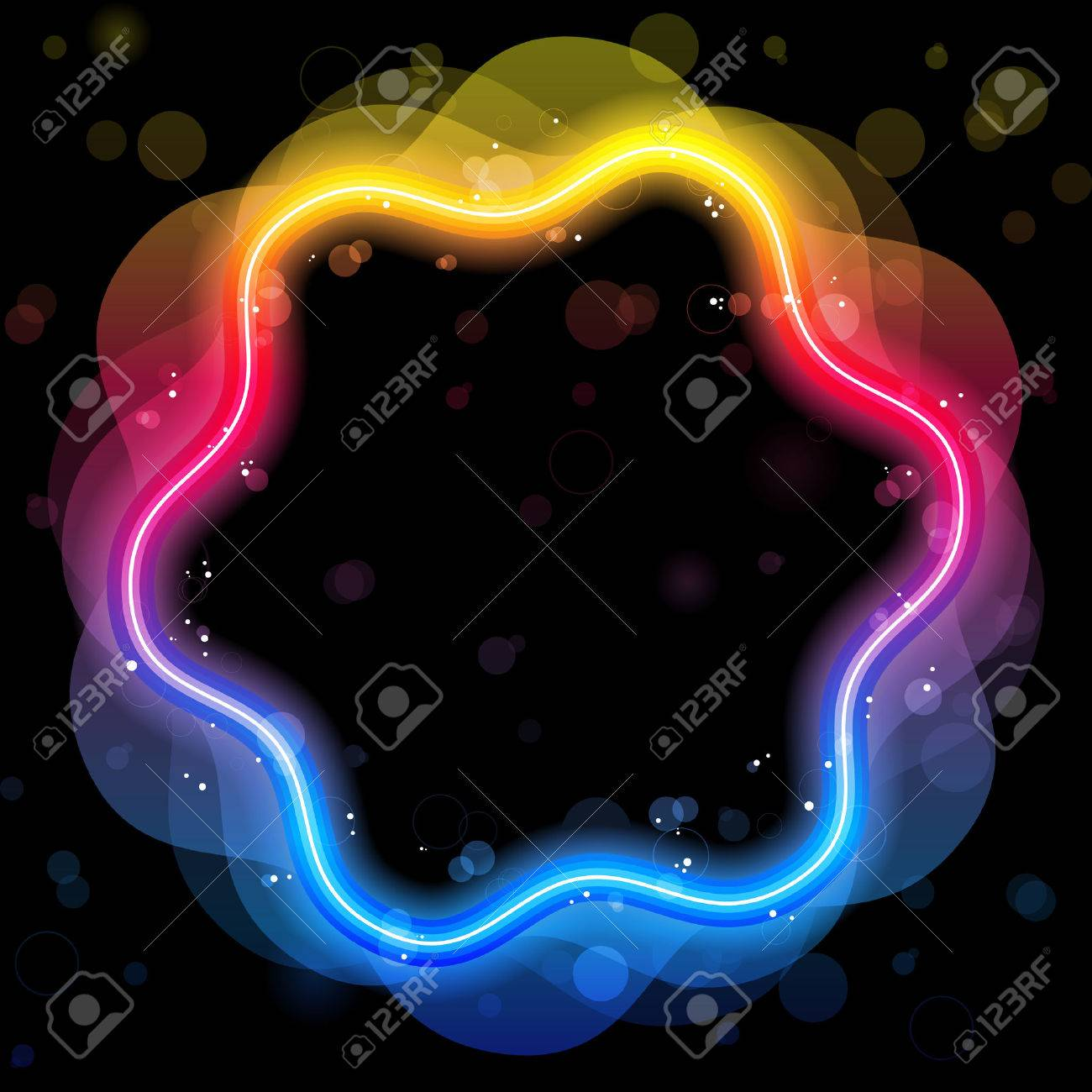 Rainbow Design Element Border with Sparkles and Swirls. Stock Vector - 7603683