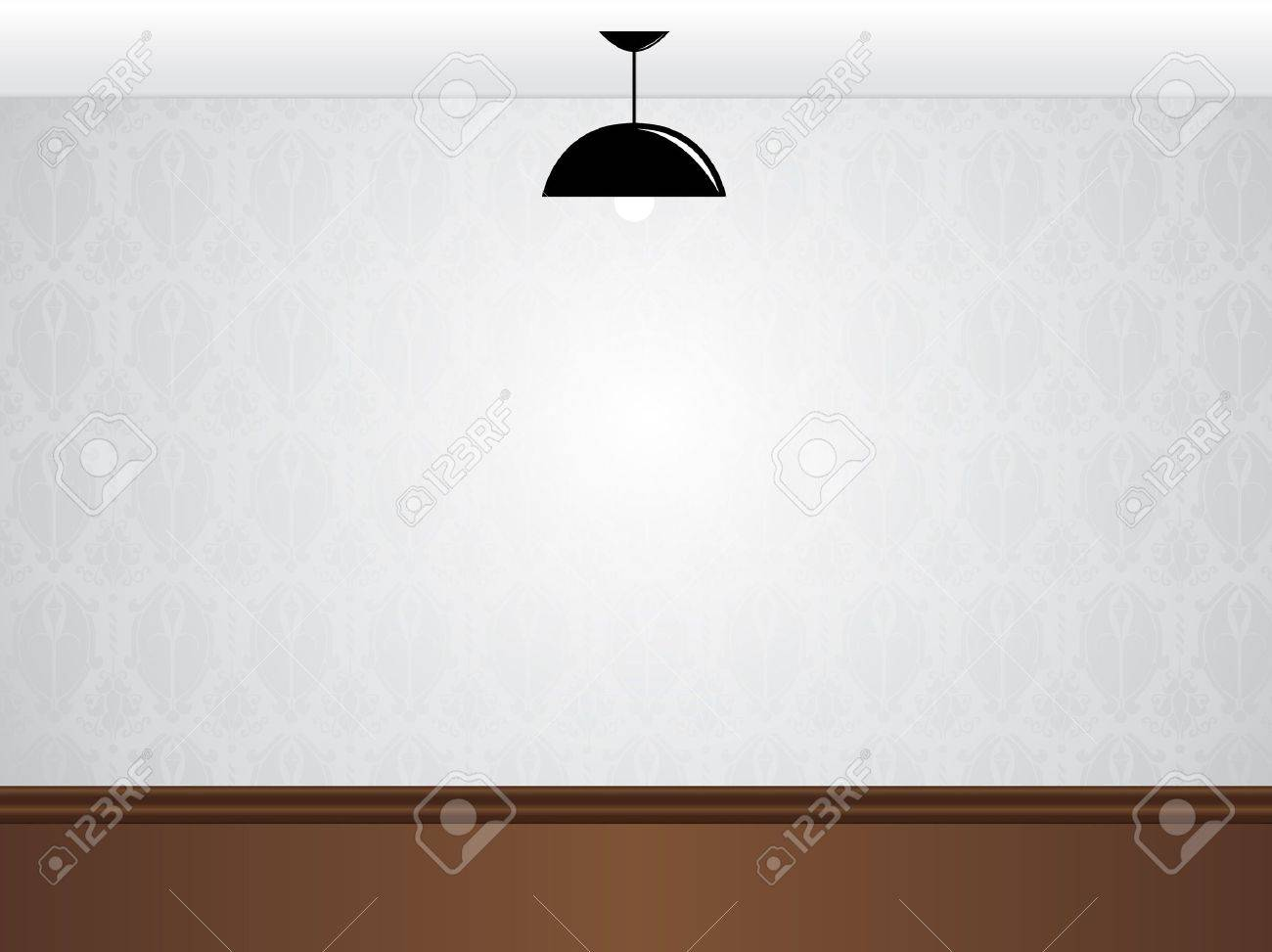 empty white room wall with black lamp and wooden floor stock vector