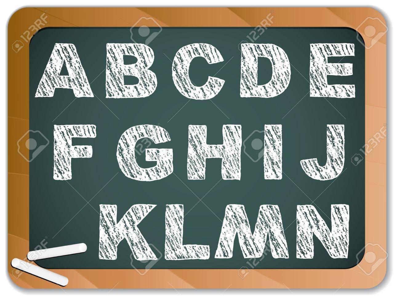 Chalk Alphabet on Blackboard Stock Vector - 7743666