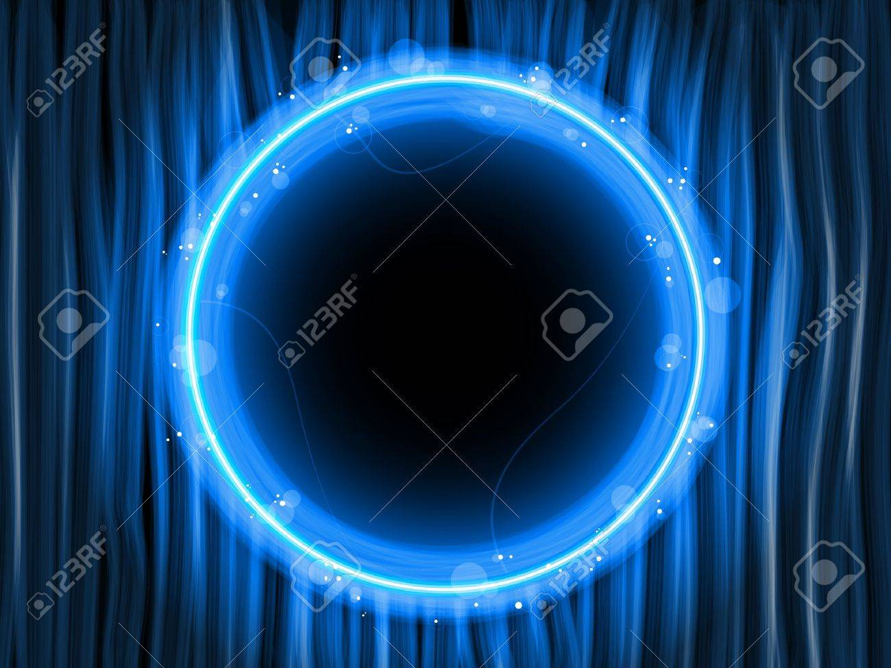 Abstract Blue Lines Background with Black Circle Stock Vector - 7743656