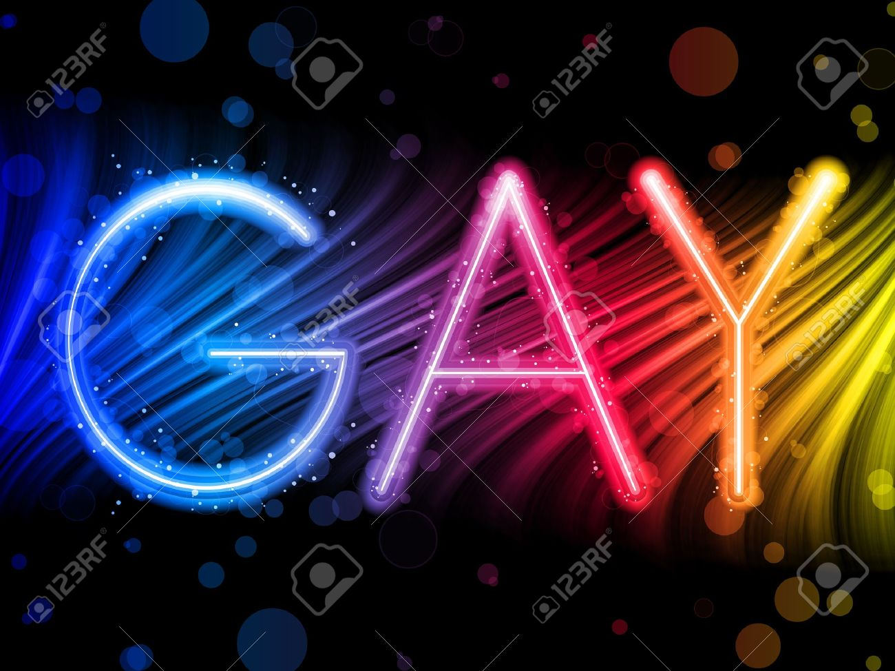Gay Pride Abstract Colorful Waves on Black Background Stock Vector - 7743658