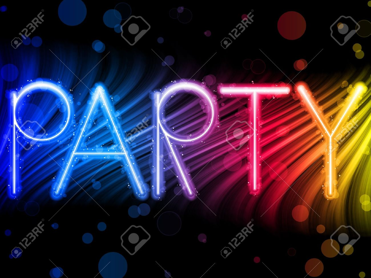 Party Abstract Colorful Waves on Black Background Stock Vector - 7806720