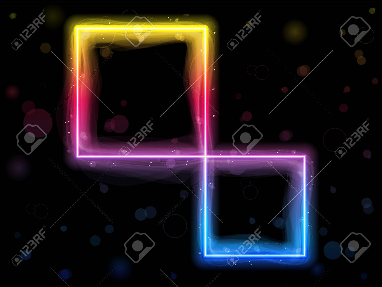 Rainbow Square Border with Sparkles and Swirls. Stock Vector - 7881693